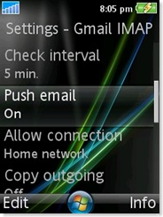 Check interval, push email and allow connection
