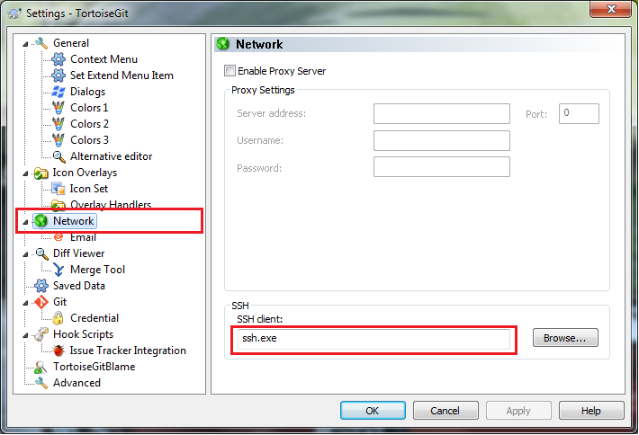 Change SSH client in Network options of TortoiseGit Settings