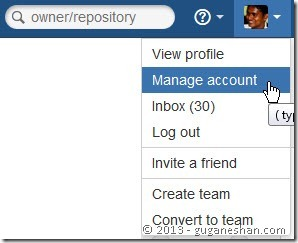 Click manage account in Bitbucket